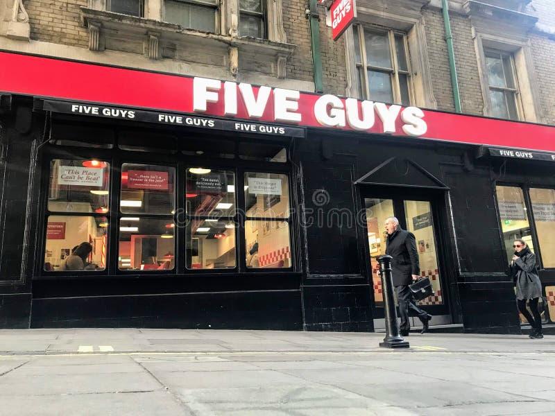 Vijf Kerelsrestaurant in centraal Londen royalty-vrije stock fotografie