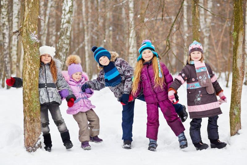 Vijf kinderen spelen in de winterpark stock fotografie