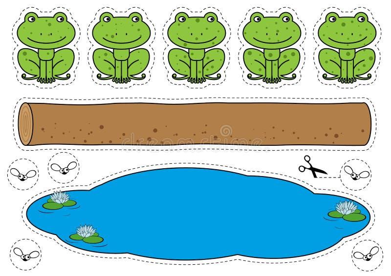Vijf Klein Gespikkeld Kikkersspel vector illustratie