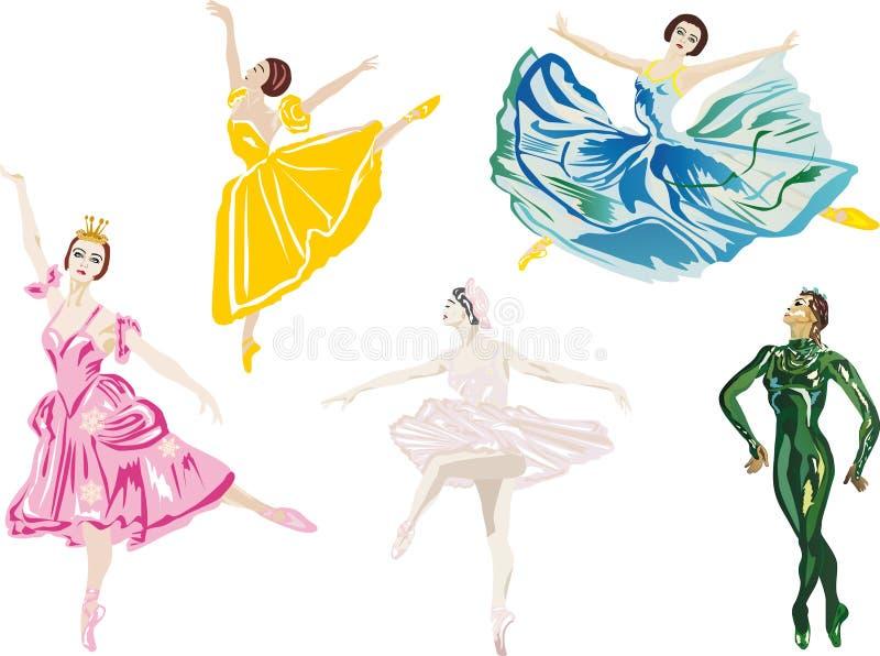 Vijf kleurenballetdansers stock illustratie