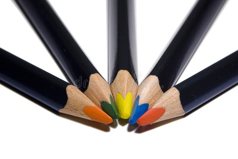 Vijf kleurenpensil royalty-vrije stock foto's