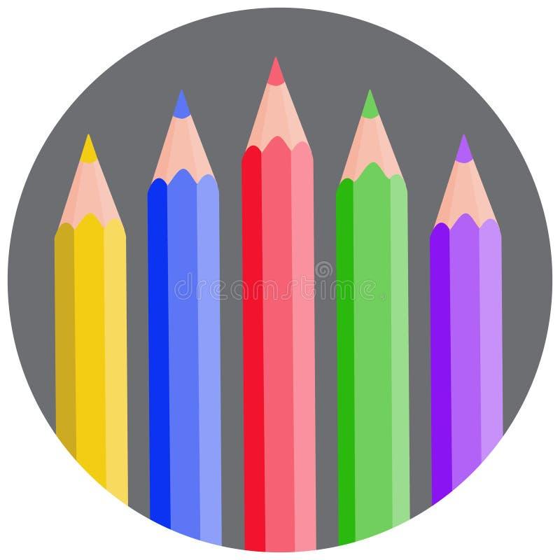 Vijf kleurenpotloden maakten grijs cirkel vectorpictogram, tekening rond, cre stock illustratie