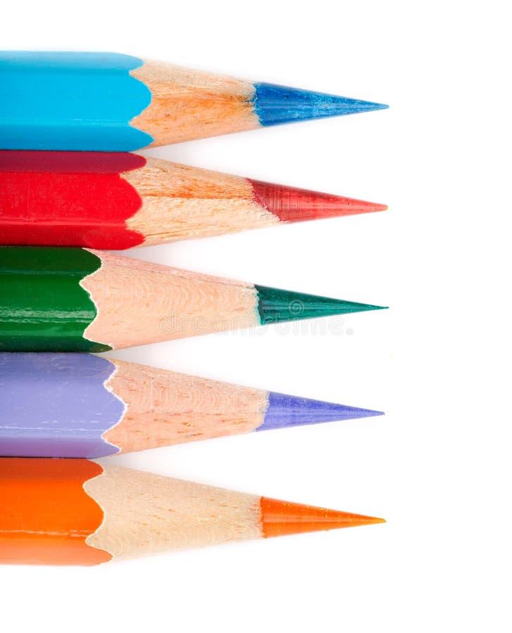 Vijf kleurpotloodlijn stock foto