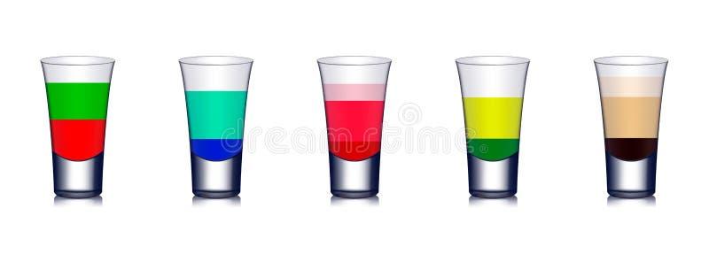 Vijf kleurrijke cocktails met heldere kleuren royalty-vrije illustratie