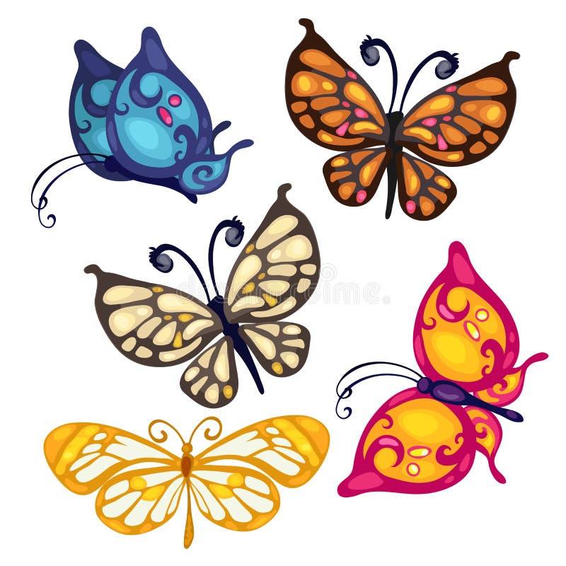 Vijf kleurrijke mooie vlinder, vectorinsect vector illustratie