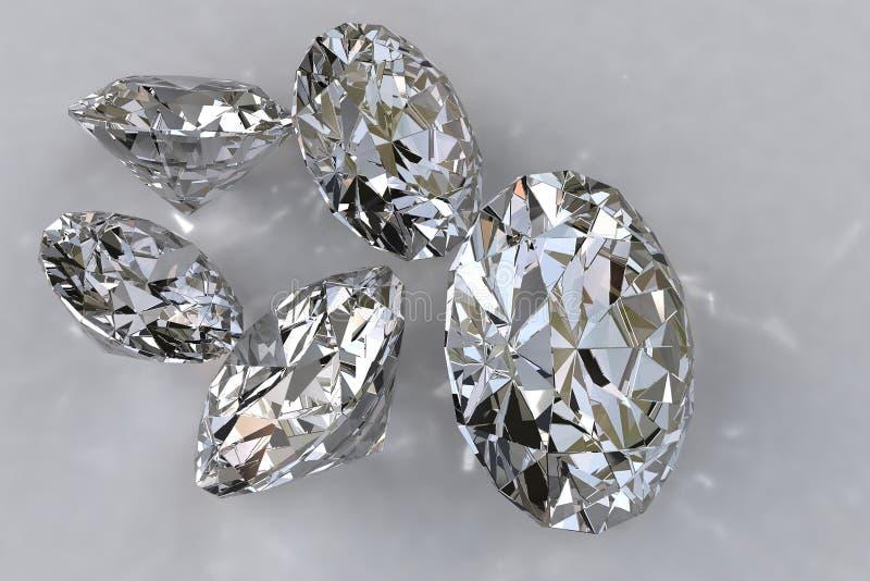 Vijf losse diamanten royalty-vrije stock foto's