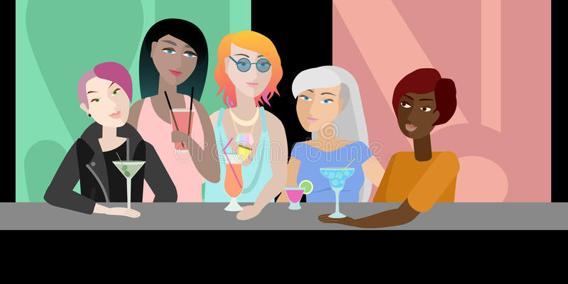 Vijf meisjes met cocktails stock illustratie