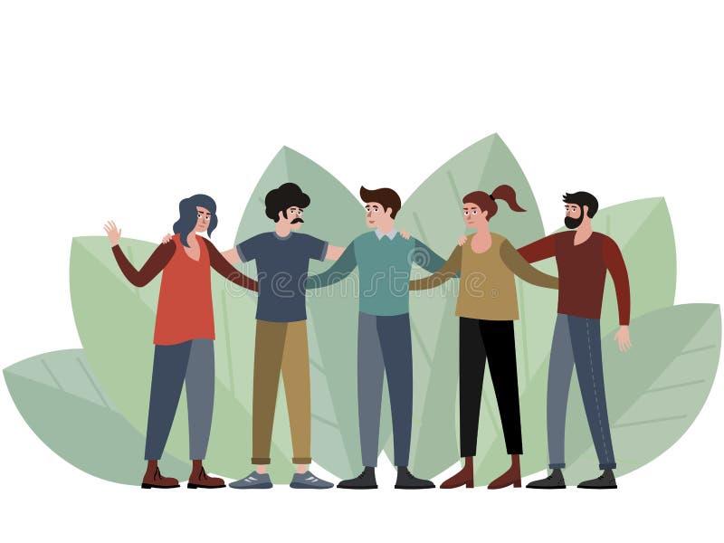 Vijf mensen, een groep vrienden die voor een foto stellen In de minimalistische vlakke Vector van het stijlbeeldverhaal vector illustratie