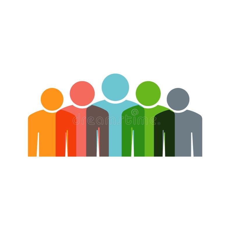 Vijf Mensen groeperen Groepswerk Vectorillustratie stock illustratie