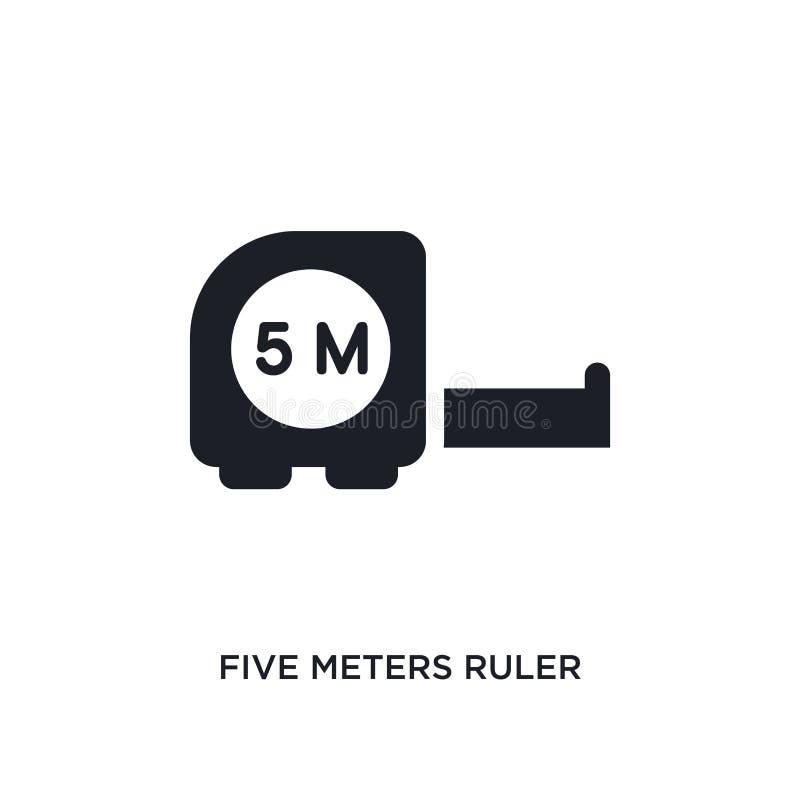 vijf meters heerser geïsoleerd pictogram eenvoudige elementenillustratie van de pictogrammen van het bouwconcept vijf meters van  stock illustratie