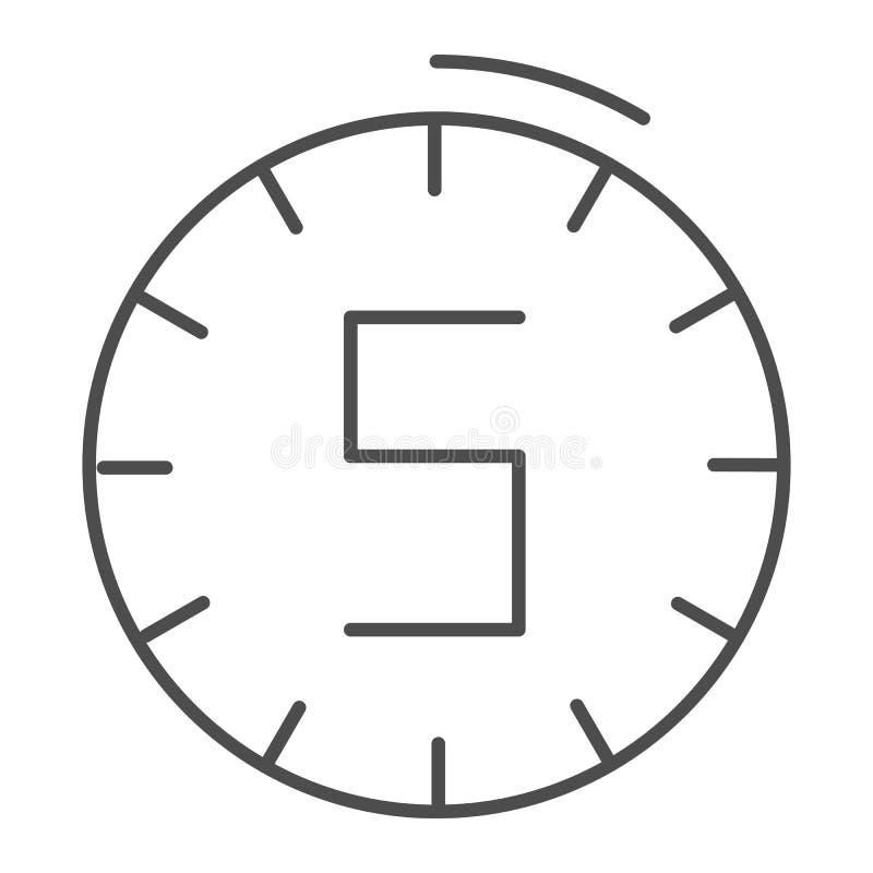 Vijf minuten klokken dun lijnpictogram Tijd vectordieillustratie op wit wordt geïsoleerd De stijlontwerp van het horlogeoverzicht royalty-vrije illustratie