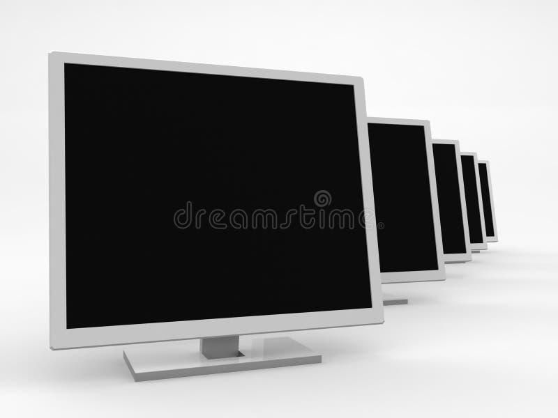Vijf monitors royalty-vrije illustratie