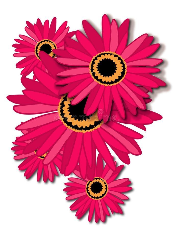 Vijf mooie bloemen stock illustratie