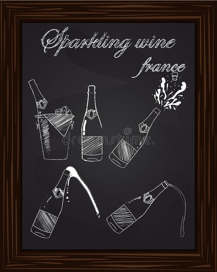 Vijf mooie champagneflessen stock illustratie
