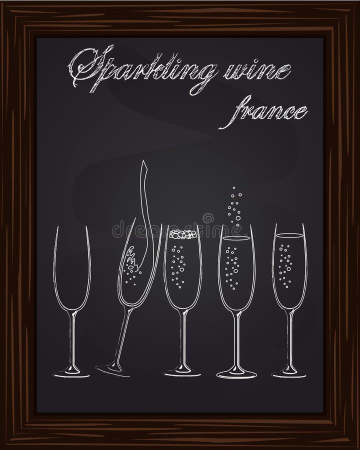 Vijf mooie champagneglazen stock illustratie