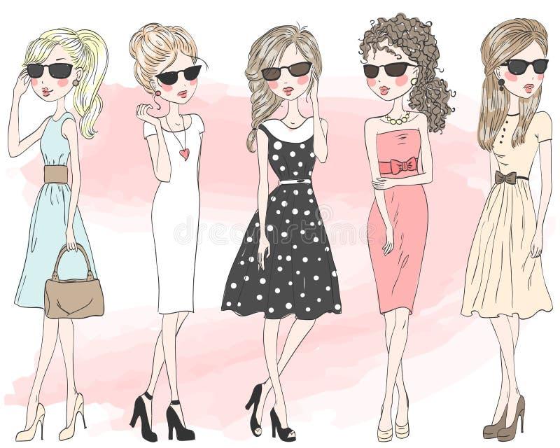 Vijf mooie modieuze leuke meisjes van de beeldverhaalmanier royalty-vrije illustratie