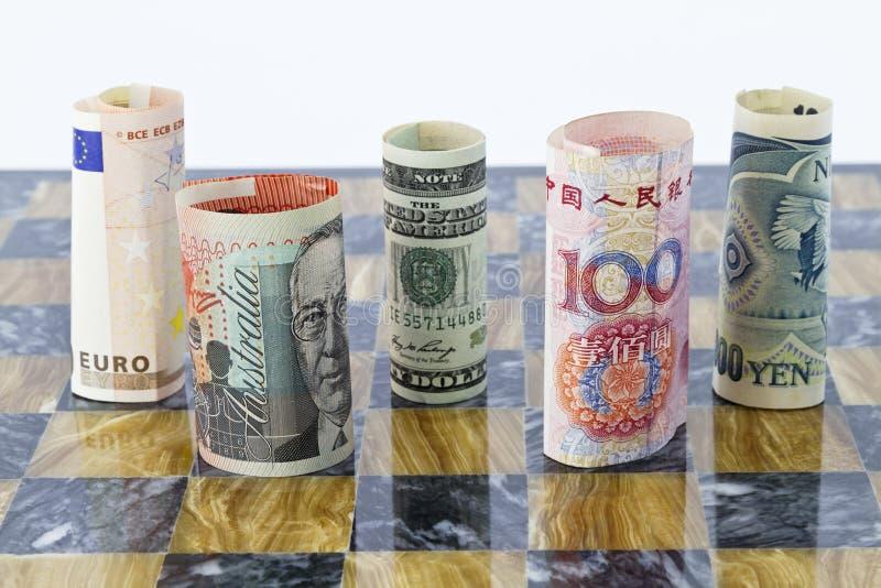 Vijf munten, vijf mondiale partners royalty-vrije stock foto