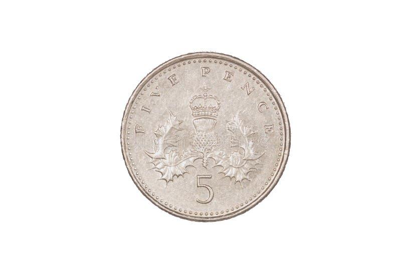 Vijf pence stuk royalty-vrije stock afbeelding