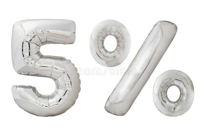 Vijf percenten verchromen metaalballons op wit royalty-vrije stock foto