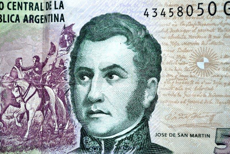 Vijf pesos Jose DE San Martin stock afbeeldingen