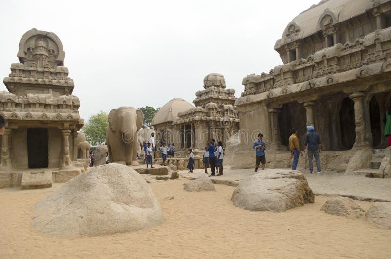 Vijf Rathas in Mahabalipuram, Tamil Nadu, India, Azië stock foto's