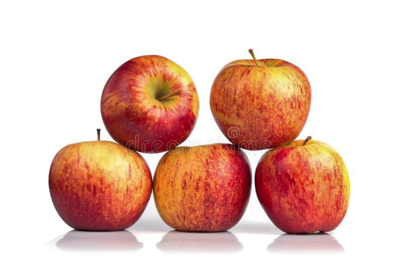 Vijf rode die appelen op witte achtergrond worden geïsoleerd stock foto