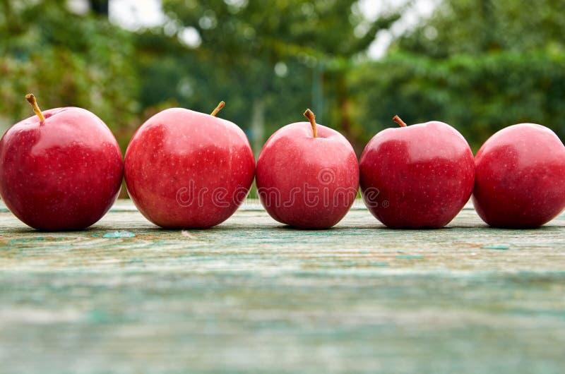 Vijf rode sappige appelen op houten groene bruine oude textuurachtergrond sluiten omhoog Appelen op vage aardachtergrond stock afbeeldingen