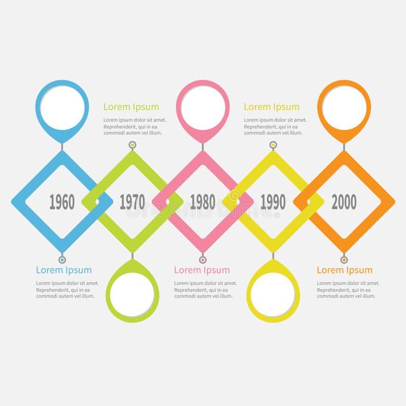 Vijf stapchronologie Infographic Placemerk om cirkel Kleurrijk groot ruit vierkant segment malplaatje Vlak Ontwerp witte backgrou royalty-vrije illustratie
