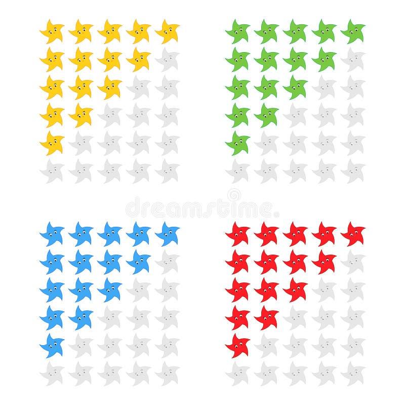 Vijf Sterren die pictogram schatten Evaluatie van het hotel, de dienst, product, kwaliteit Niveauresultaten of lifes in het spel  vector illustratie
