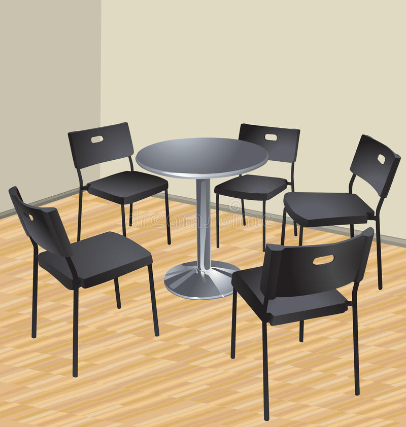 Vijf stoelen en lijst vector illustratie