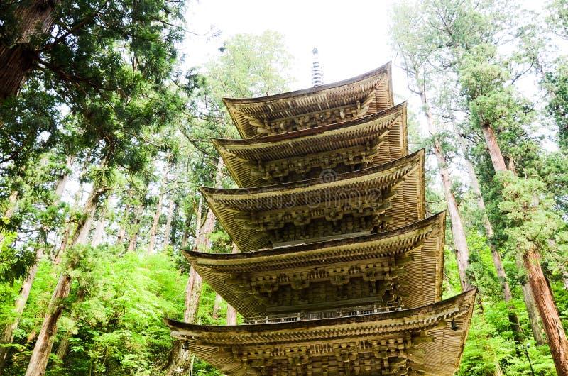 Vijf Storied Pagode in MT Haguro, Yamagata, Japan royalty-vrije stock foto's
