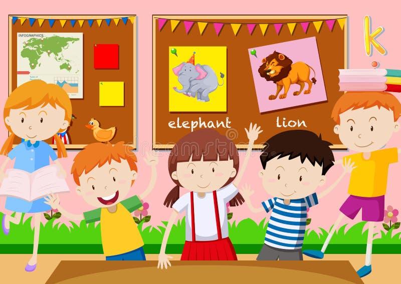 Vijf studenten die in het klaslokaal leren royalty-vrije illustratie