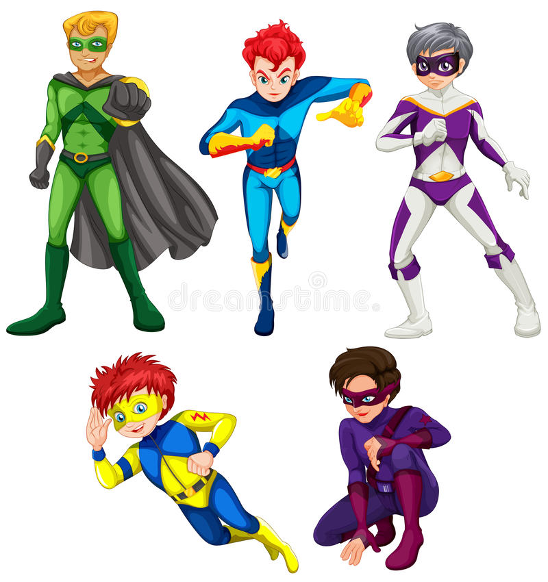 Vijf superheroes vector illustratie