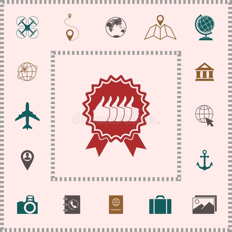 Vijf symbolenduim op Gebaar - etiket met linten Duim op pictogram - de hoogste score, de beste keus, het hoogst vector illustratie