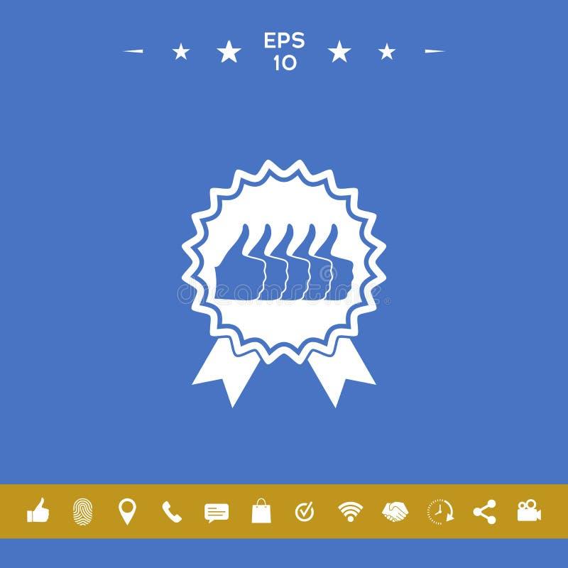 Vijf symbolenduim op Gebaar - etiket met linten Duim op pictogram - de hoogste score, de beste keus, het hoogst royalty-vrije illustratie