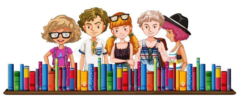 Vijf tieners en vele boeken stock illustratie