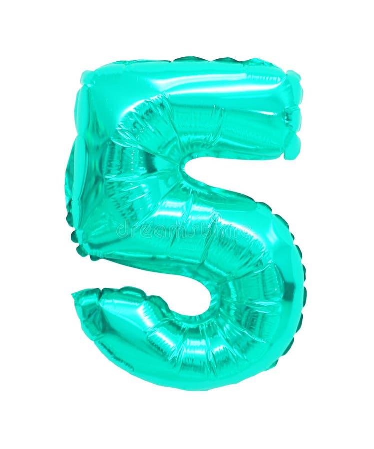 Vijf van ballons turkooise kleur royalty-vrije stock foto's