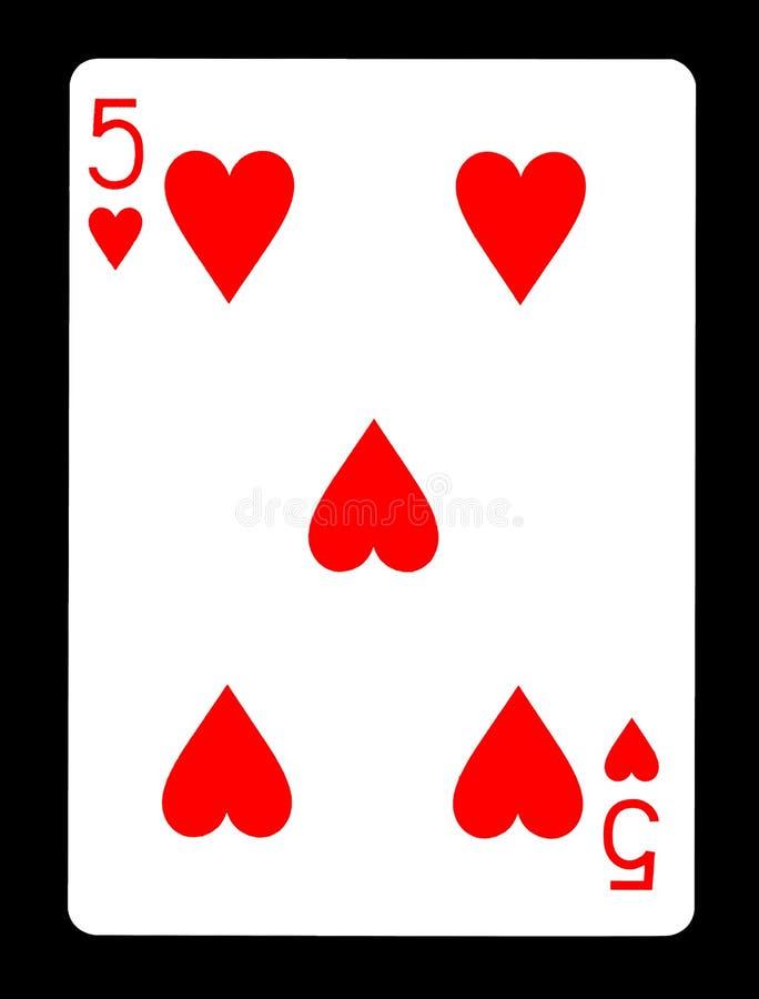 Vijf van hartenspeelkaart, royalty-vrije stock foto