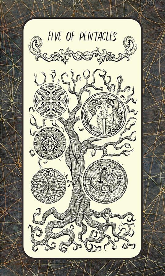 Vijf van pentacles De Magische kaart van het Poorttarot royalty-vrije illustratie