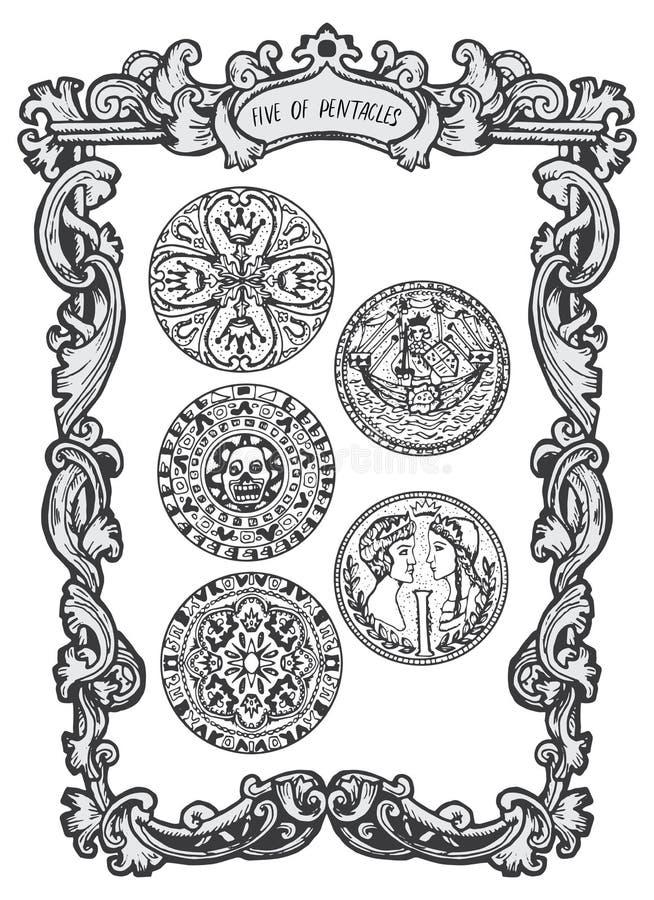 Vijf van pentacles Minder belangrijke Arcana-Tarotkaart royalty-vrije illustratie