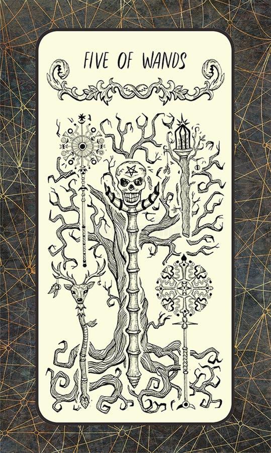 Vijf van toverstokjes De Magische kaart van het Poorttarot royalty-vrije illustratie