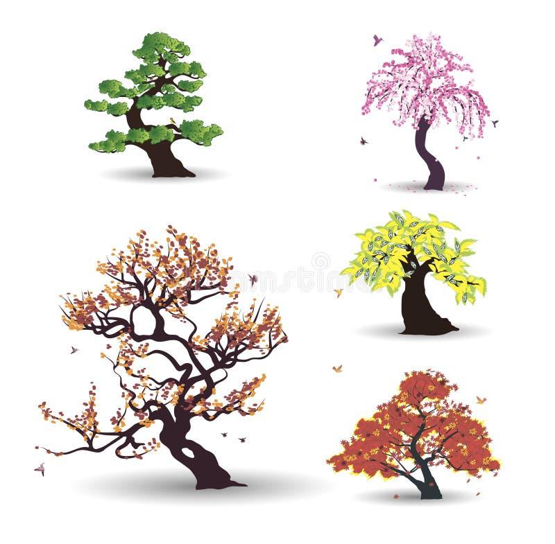 Vijf vectorbomen met vogels vector illustratie