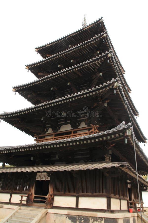 vijf-verhaal pagode van Horyu ji in Nara stock fotografie