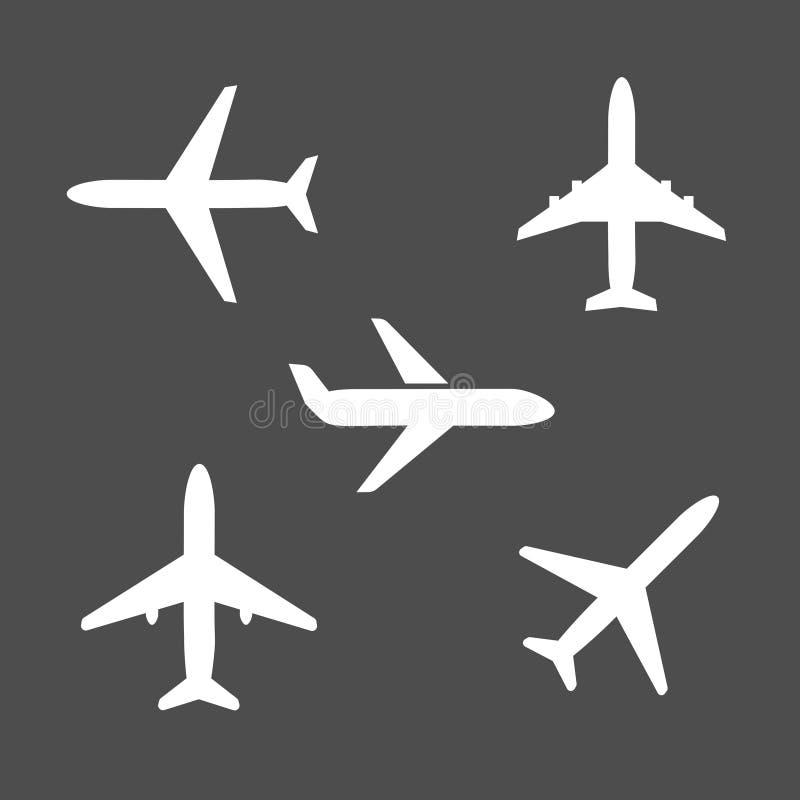Vijf verschillende pictogrammen van het vliegtuigsilhouet stock illustratie