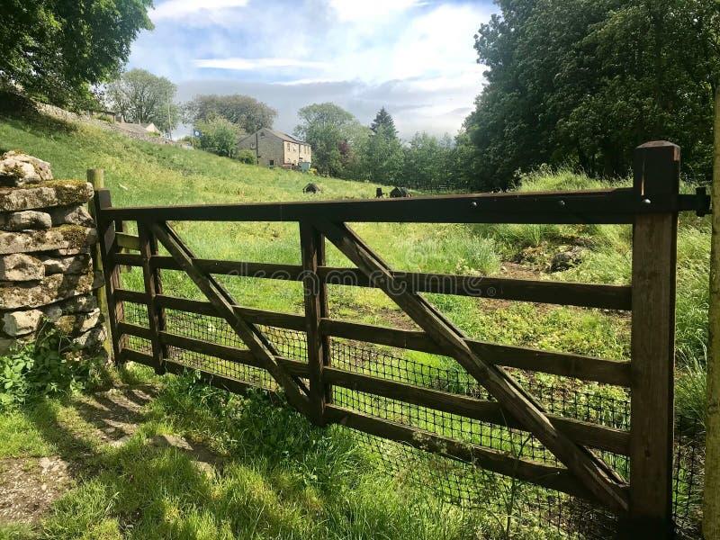 Vijf versperde poort die tot weide leiden royalty-vrije stock foto