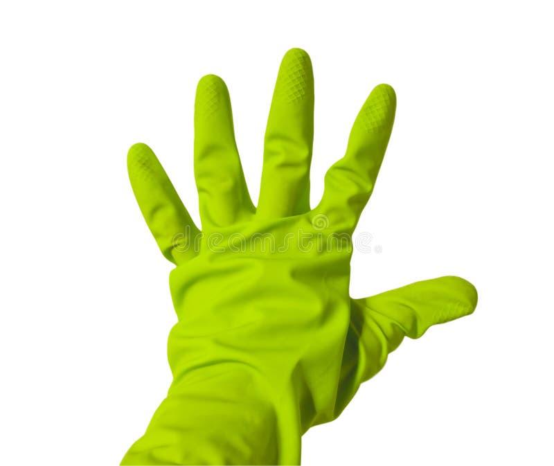 Vijf vingers in groene vinylhandschoen royalty-vrije stock fotografie