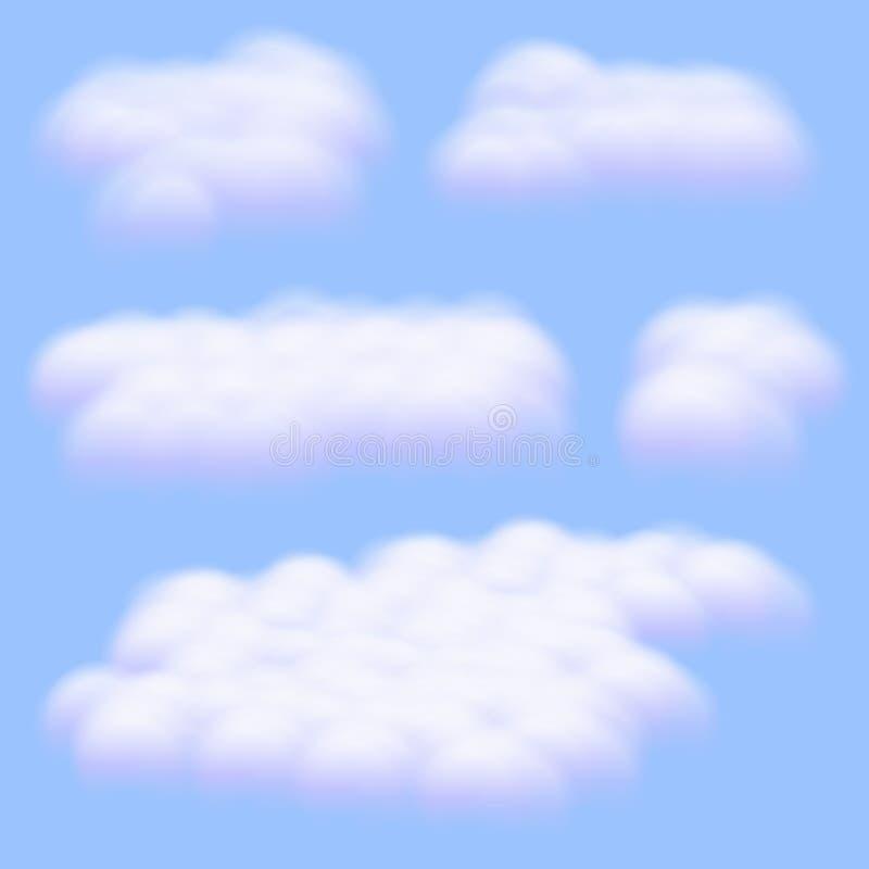 Vijf Virtuele cumulus wolken vectoren geïsoleerd op duidelijke blauwe hemelachtergrond, Realistische Fluffy kubussen als witte wa vector illustratie