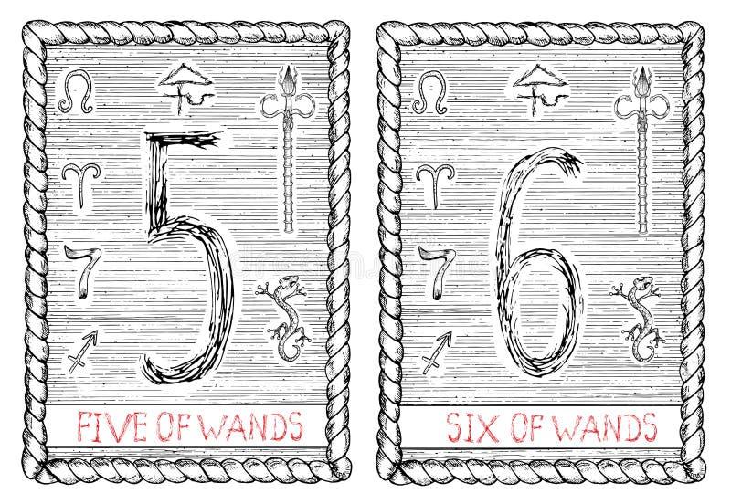 Vijf zes van toverstokjes De tarotkaart stock illustratie