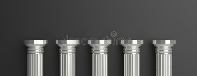Vijf zilveren pijlers tegen zwarte muurachtergrond 3D Illustratie stock illustratie
