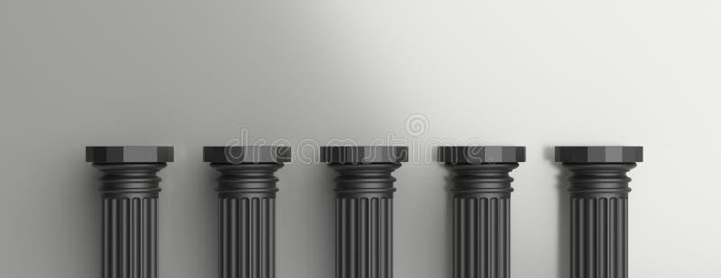 Vijf zwarte pijlers tegen zilveren muurachtergrond 3D Illustratie vector illustratie